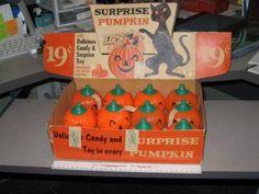 Rosen 1950s Halloween Pumpkin Plastic Candy Container Store Display.