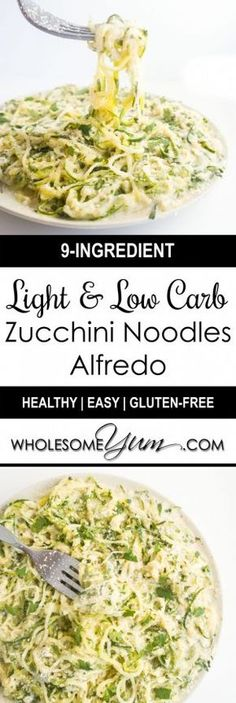 diät Zucchini Noodles Recipe w/Healthy Alfredo Sauce (Low Carb, Gluten-Free) - This zucchini noodles recipe (zoodles recipe) includes a healthy Alfredo sauce that's the best of all worlds - rich, creamy, low carb, gluten-free & light. Healthy Recipes, Veggie Recipes, Low Carb Recipes, Real Food Recipes, Diet Recipes, Vegetarian Recipes, Cooking Recipes, Vegetarian Cooking, Recipes Dinner