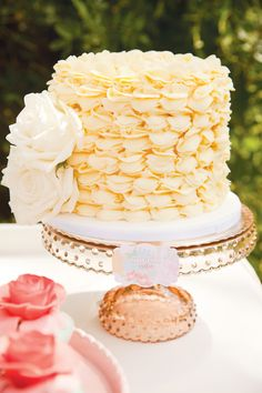 What a fun twist on the Rosette style buttercream! Yellow Ruffle Smash Cake by Kiss My Cakes; photo: White Sparks