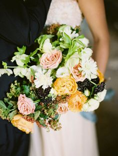Orange, peach, blue berry and light pink wedding bouquet, photographed by Elena Pavlova, Russia Fall Bouquets, Wedding Bouquets, Gold Wedding Invitations, Event Styling, Wedding Styles, Floral Design, Floral Wreath, Wedding Decorations, Wedding Inspiration