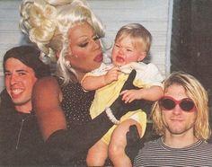 Rupaul holding Kurt Cobain's daughter Frances Bean. This just made me laugh.