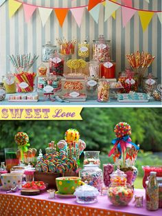 Love a sweetie table u can't go wrong with a sweets table!