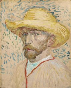 Self-Portrait with Straw Hat by Vincent Van Gogh, oil painting on cardboard fine art poster Vincent Van Gogh, Van Gogh Museum, Art Museum, Pink Canvas Art, Oil On Canvas, Canvas Size, Painting Prints, Fine Art Prints, Van Gogh Pinturas