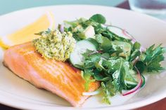 Packed with greens, this salad, pesto and ocean trout combination makes an elegant and satisfying mid-week meal.