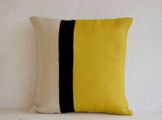 "Decorative Pillow Case - Yellow Colorblock Pillow Covers - Yellow, Black and Ivory White Burlap Throw Pillow Covers - Wedding Present - Photo Prop (14"" x 14"") Amore Beaute http://smile.amazon.com/dp/B00Y7SZ7MM/ref=cm_sw_r_pi_dp_-eS.vb04G49KN"