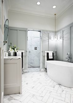 Summit Dr, Eaglemont - Transitional - Bathroom - Melbourne - by Bloom Interior Design | Houzz AU Installing Wainscoting, Dining Room Wainscoting, Wainscoting Panels, Wainscoting Bathroom, Wainscoting Ideas, Herringbone Marble Floor, Modern Wall Paneling, Minimalist House Design, Wood Panel Walls
