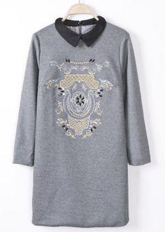 Grey Long Sleeve Retro Floral Straight Dress - Sheinside.com