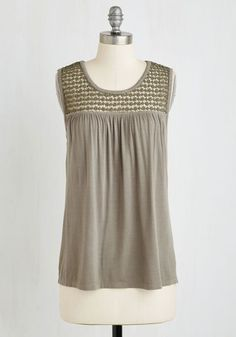 Overnight Oats Top in Taupe by ModCloth - Solid, Crochet, Casual, Knit, Better, Exclusives, Scoop, Variation, Mid-length, Grey, Sleeveless, Fall