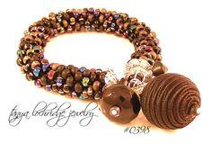 Black Satin Bead & Czech Glass Bangle Bracelet