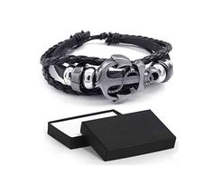 #Bonanza #Leather #Bracelet #Vintage #Anchor #Charm #Bangle #Fit #7-9 #Inch #Black #Rope in #Gift #Box