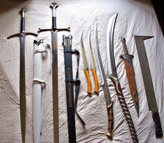 LOTR Blades - Glamdring, Anduril, Legolas' hunting knives, Hadhafang, a High Elven sword, Sting, and an Uruk-hai scimitar. So cool. :D