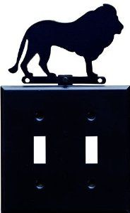 "Lion Switchplate, Double by Shaker. $20.00. 7"" high.. Our switch plate features a realistic silhouette of a wild lion.. Stamped steel, painted flat black.. This is a double switchplate.. Made in USA.. Our switch plate features a realistic silhouette of a wild lion. Stamped steel, painted flat black. 7"" high. This is a double switchplate. Made in USA."