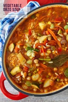 Looking for an easy, healthy and delicious weeknight meal? Then look no further! Your entire family will love this Vegetable Orzo Soup, as a quick and easy healthy weeknight meal