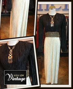 Vintage Mary McFadden Ivory Black Dress Fortuny by HighLowVintage