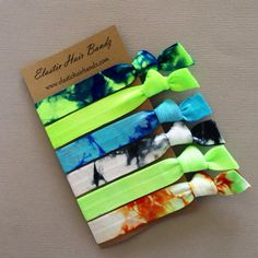 The Tyler Tie Dye Hair Tie-Ponytail Holder Collection - 6 Elastic Hair Ties by Elastic Hair Bandz on Etsy
