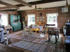 An old cottage icluding a little bit of this and that. Home, Cottage Inspiration, Scandinavian Home, Log Cabin Decor, Swedish Decor, Cottage Interiors, Interior Design Living Room, Scandinavian Cottage, Rustic House