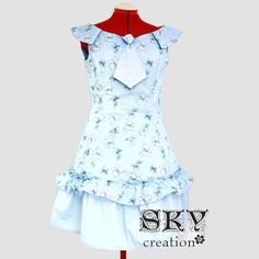 Blue Butterfly Dress with Tie and Boat Neck ML by skycreation, $60.00