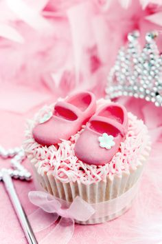 Cute Tiny Pink Shoes Cupcake