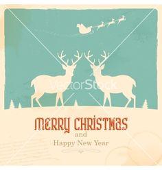Christmas reindeer vector - by vectomart on VectorStock®