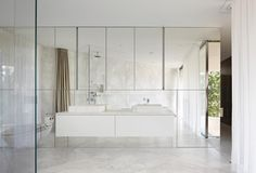 glass and mirror bathroom