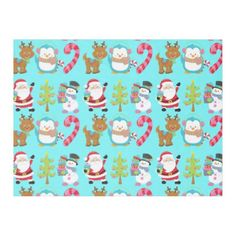 Cute Christmas Santa Snowman Reindeer Pattern Fleece Blanket - Xmas ChristmasEve Christmas Eve Christmas merry xmas family kids gifts holidays Santa