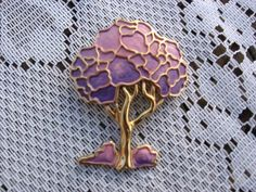 1970 Eisenberg Artist Series Enamel Lavender Tree Pin