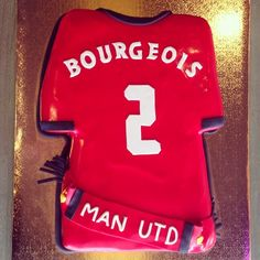 Manchester United Jersey Groom's Cake by 2tarts Bakery / New Braunfels, Texas / www.2tarts.com