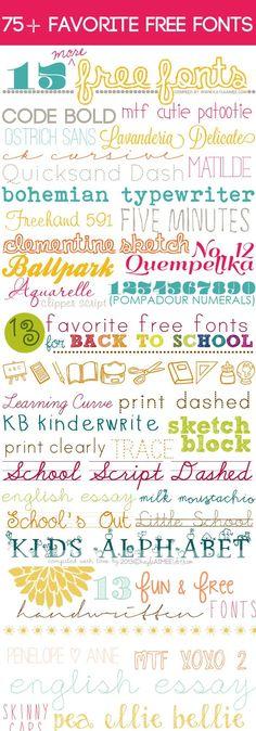 a collection of 75+ Favorite Free Fonts via @Kayla Barkett Barkett Barkett Aimee