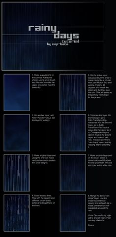 rain tutorial by isip-bata on DeviantArt digital art Concept Art Tutorial, Digital Art Tutorial, Digital Painting Tutorials, Art Tutorials, Drawing Tutorials, Drawing Rain, Doodle Drawing, Drawing Techniques, Drawing Tips