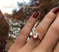 Rose gold, vintage inspired, oval diamond engagement ring by Catherine Angiel