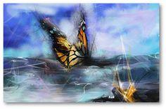 Le papillon . Peinture numérique ,artiste peintre Chafika Feghir .