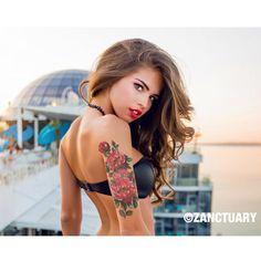 Large Temporary Tattoo Sleeve-Flower Tattoo Sleeve-Floral Temporary Tattoo-Red Begonia Flower-Women-Arm Forearm-Wedding Cover Up-ZANCTUARY