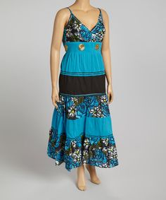 Another great find on #zulily! Turquoise Floral Maxi Dress - Plus #zulilyfinds