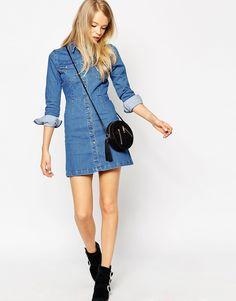 Image 4 ofASOS PETITE Denim Western A-Line Shirt Dress