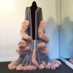 "Image of ""Cassandra"" Extravagant Marabou Dressing Gown  Smoke/Naturelle"