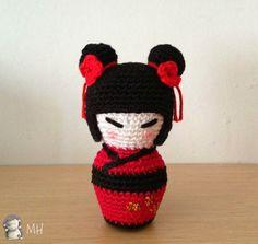 Kokeshi Amigurumi pattern by Ana Artedetei Doll Patterns Free, Amigurumi Patterns, Amigurumi Doll, Free Pattern, Crochet Crafts, Crochet Projects, Free Crochet, Knitted Dolls, Crochet Dolls