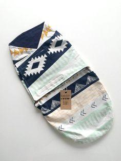 Baby Boy Blue Aztec Velcro Swaddle by ShopBumbleBerryBaby on Etsy: