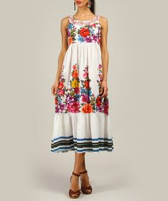 Take a look at this White Flower Sleeveless Midi Dress by Anmol on #zulily today!