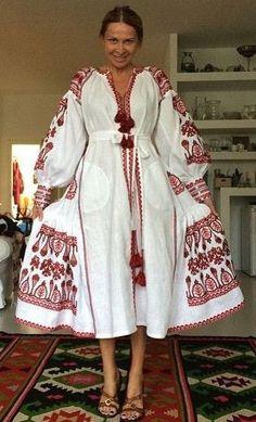 White red Vyshyvanka Vita Kin style Embroidered Bohemian Linen Folk Embroidery MIDI Dress Boho Vita Kin Style. Sizes - XS-XXL 011