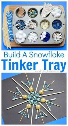 Winter STEM- Build A Snowflake Tinker Tray.  Use loose parts to build snowflakes.  Explore radial symmetry as you incorporate math, science, fine motor work, and creativity in this activity for preschoolers, kindergartners, and elementary kids.