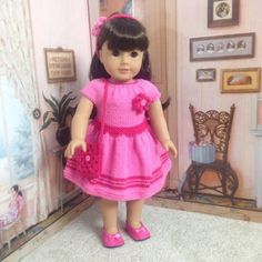 18 inch American Girl Journey Girl Doll Handmade Knitted Dress by CrazyLadyDollClothes on Etsy