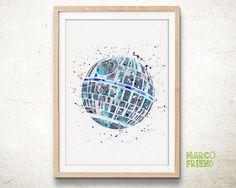 Death Star, Star Wars - Watercolor, Art Print, Home Wall decor, Watercolor Print, Star Wars Poster