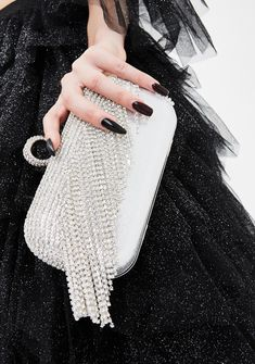 Free, fast shipping on Catch Me Drippin' Rhinestone Clutch at Dolls Kill, an online boutique for punk and streetwear fashion. Crystal Kingdom, Sparkly Mini Dress, Metallic Skirt, Rhinestone Choker, Tulle Dress, Blue Bags, Black Handbags, Special Occasion Dresses, Girly Things