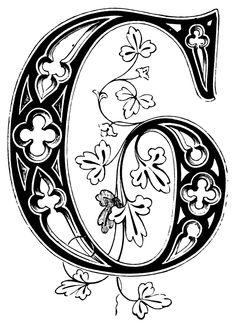 vintage letter g Decorative Alphabet Letters, Fancy Letters, Monogram Letters, Illuminated Letters, Illuminated Manuscript, Vintage Lettering, Vintage Monogram, Vintage Fonts, Calligraphy Alphabet