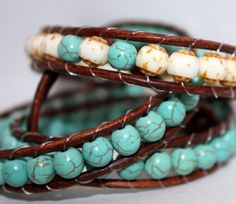 Beaded wrap bracelet distressed brown leather by mvtreasures, $50.00