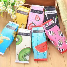 Creative Macaron Cracker Pencil Case for girls Cute fruit Pu Leather Pen Bag Kawaii Stationery Pouch Office School Supplies  #Affiliate