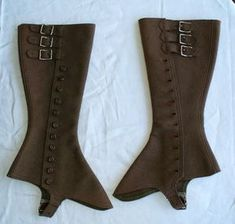 Spats  18th century  Spats are protective coverings worn over outdoor shoes, to protect the shoes. They were developed to help protect the details, such as buckles and leather being used in footwear.  Found at: