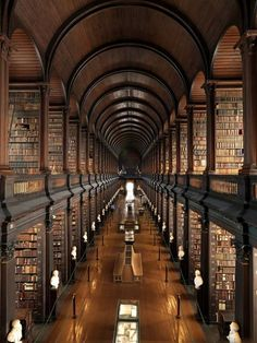 The library of Trinity College, Dublin, Ireland, was rebuilt between 1712 and 1732 and hosts more than 200,000 ancient volumes on shelves of oak.