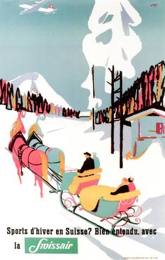 1948 Wintersport in Switzerland ? with Swissair of course !!, Switzerland vintage travel poster
