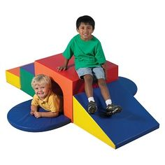 Climbing Toys - Children's Factory Soft Tunnel Climber for toddlers and small tots. Bright colors highlight this soft tunnel climber.  Soft oversized building blocks that come apart easily.